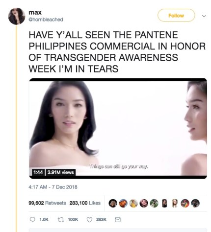 The viral tweet Twitter user max wrote about the Pantene Philippines ad.