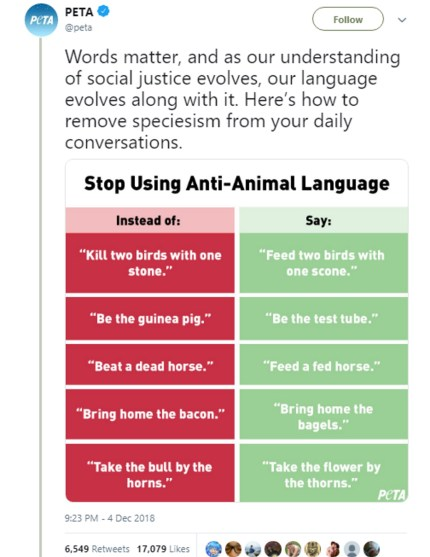 """PETA's list of """"unacceptable"""" animal-based idioms, which it compared to homophobia"""