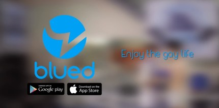An ad for the Blued gay dating app