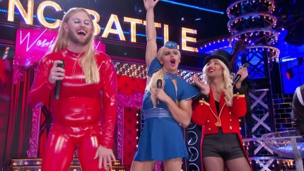 Queer Eye stars Bobby Berk, Antoni Porowski and Tan France as Britney Spears on Lip Sync Battle