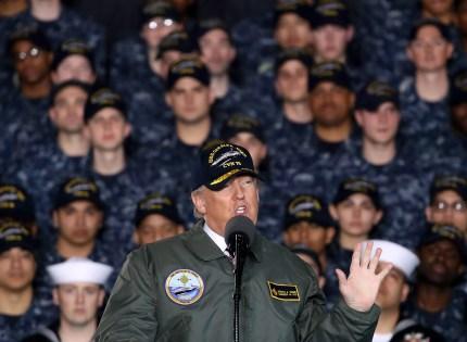 Transgender troops ban: President Donald Trump speaks to members of the U.S. Navy and shipyard workers