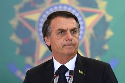 Brazilian President Jair Bolsonaro delivers a speech during the appointment ceremony of the new heads of public banks, at Planalto Palace in Brasilia, Brazil on January 7, 2019