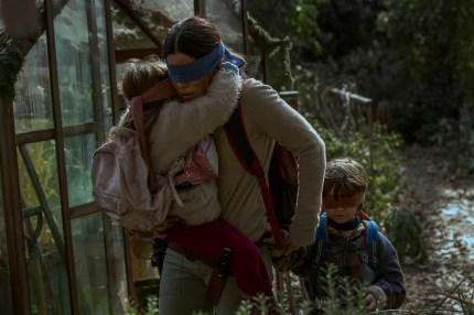 Sandra Bullock, Vivien Lyra Blair and Julian Edwards in the hit Netflix film, which has sparked many Bird Box memes