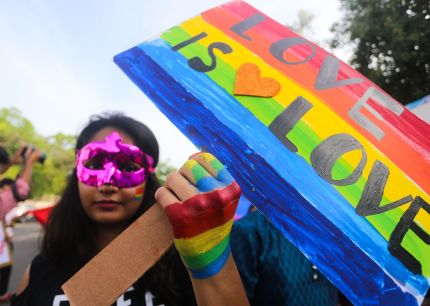 An supporter of the lesbian, gay, bisexual, transgender (LGBT) community in India takes part in a pride parade in Bhopal on July 15, 2018