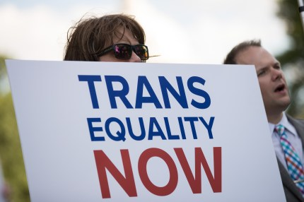Members of the transgender community and their supporters attend a rally for transgender equality on Capitol Hill, June 9, 2017 in Washington, DC