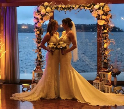 WNBA Chicago Sky player Alexandria Quigley posted a picture of her wedding to teammate Courtney Vandersloot.