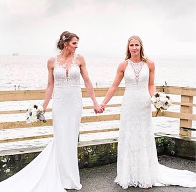 WNBA Chicago Sky player Courtney Vandersloot posted a picture of her wedding to teammate Alexandria Quigley.