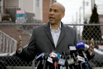 US Senator Cory Booker announces his run for US president in 2020, on February 1, 2019, outside his home in Newark, New Jersey.