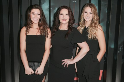"""John Meehan's family. (L-R) Emily Meehan, Tonia Bales and Abigail Meehan attend the after party for Bravo's anthology series """"Dirty John"""" world premiere at NeueHouse Los Angeles on November 13, 2018 in Hollywood, California."""
