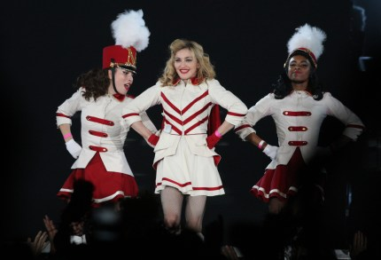 US singer Madonna performs on stage during her MDNA tour at St. Petersburg's Sports and Concert Complex on August 9, 2012.