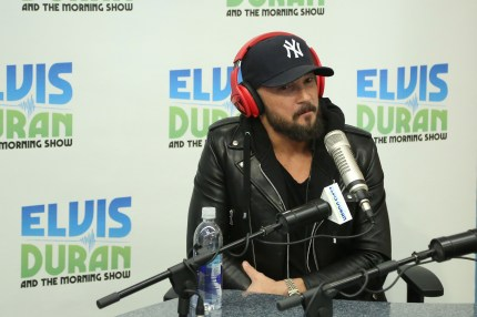 """Hillsong Pastor Carl Lentz is interviewed during the """"Elvis Duran Z100 Morning Show"""" at Z100 Studio on February 12, 2015 in New York City."""