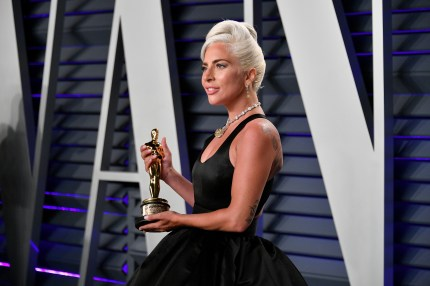 Lady Gaga, winner of the Music (Original Song) award for 'Shallow' from 'A Star Is Born,' attends the 2019 Vanity Fair Oscar Party on February 24, 2019 in Beverly Hills, California.