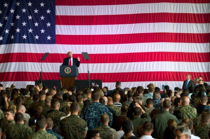 US Air Force: President Donald J. Trump speaks to service members and their families at Naval Air Station Sigonella during an all-hands call May 27, 2017 in Sigonella, Italy