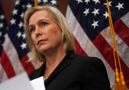 Sen. Kirsten Gillibrand (D-NY) listens during a news conference December 12, 2017 on Capitol Hill in Washington, DC.