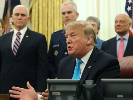 US President Donald Trump speaks to the media before signing the Space Policy Directive 4, during a ceremony in the Oval Office on February 19, 2019 in Washington, DC.