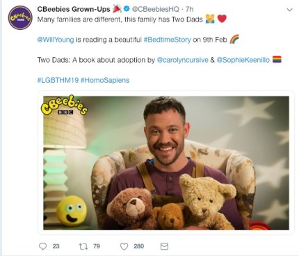 CBeebies announced Will Young as a guest on the Bedtime Stories show, reading a book about LGBT parents.