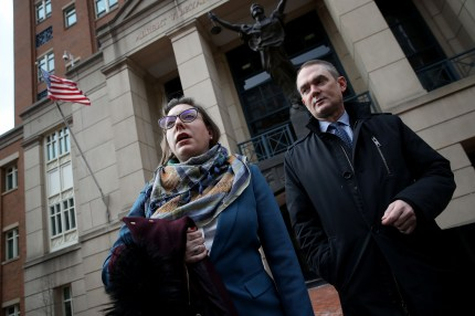 Attorneys for Chelsea Manning, Moira Meltzer-Cohen (L) and Christopher Leibig (R) speak outside the Albert V. Bryan United States Courthouse following a hearing for Manning March 8, 2019 in Alexandria, Virginia.