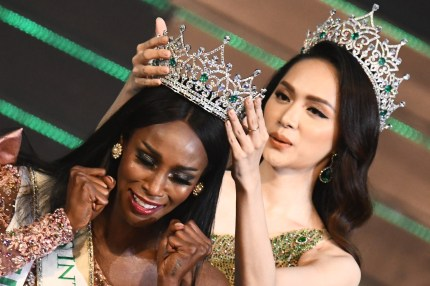 Contestant Jazell Barbie Royale of the US celebrates while being crowned the Miss International Queen 2019.