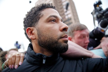 Empire actor Jussie Smollett leaves Cook County jail after posting bond on February 21, 2019 in Chicago, Illinois.