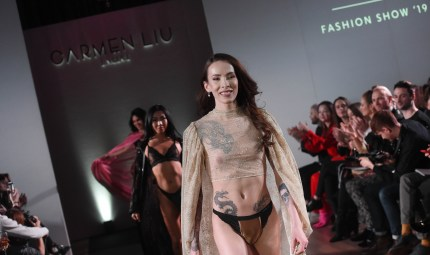 Transgender lingerie designer Carmen Liu walks the runway during the launch of the World's First Transgender Lingerie Brand 'GI Collection' at Glaziers Hall on February 28, 2019 in London, England.