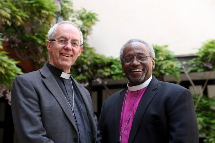 The Archbishop of Canterbury Justin Welby (L) with American bishop Michael Curry