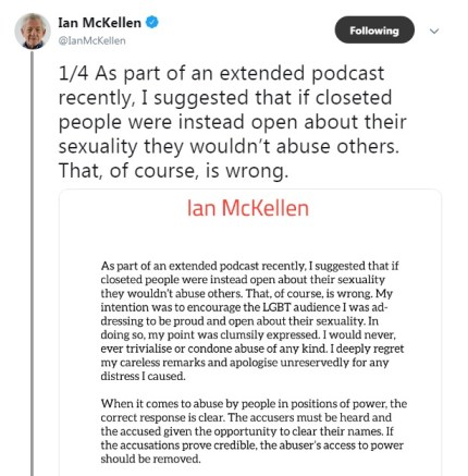 Ian McKellen took to Twitter to apologise for the comments he made about Bryan Singer and Kevin Spacey's sexual assault allegations