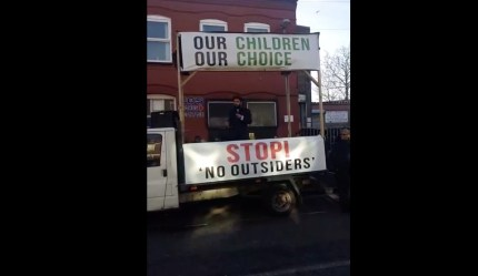 The man addressing the rally on Thursday demanded the abolition of the No Outsiders programme at the Birmingham school.