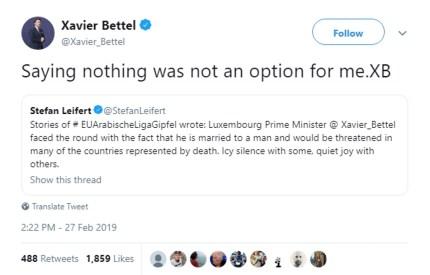 A tweet by gay Luxembourg leader Xavier Bettel.