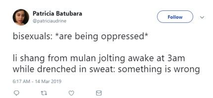 "A tweet about Li Shang, a Mulan character, which plays with the ""lesbian: is being oppressed"" meme."