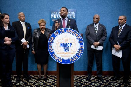 Derrick Johnson, President and CEO of the NAACP, speaks during a press conference.