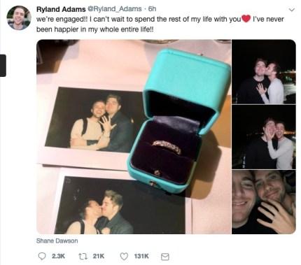 Ryland Adams posted photos of Shane Dawson's proposal.
