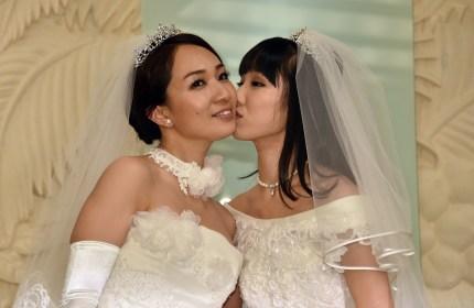 Same-sex couple in Japan: Japanese actress Akane Sugimori (R) kisses her partner Ayaka Ichinose.