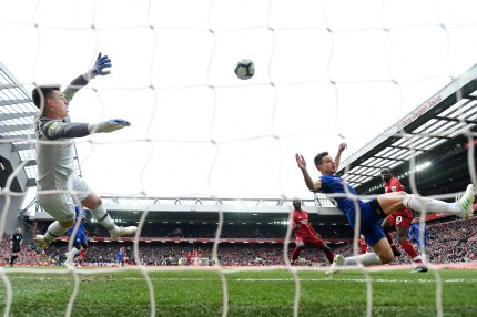 The Premier League match between Liverpool FC and Chelsea FC at Anfield on April 14, 2019 in Liverpool, United Kingdom.