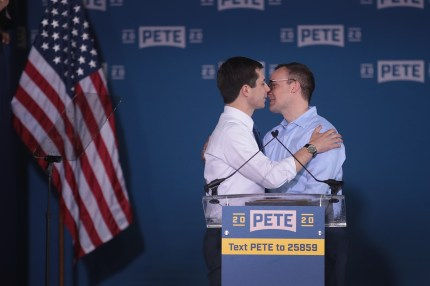 South Bend Mayor Pete Buttigieg greets his husband Chasten after announcing that he will be seeking the Democratic nomination for president during a rally in the old Studebaker car factory on April 14, 2019 in South Bend, Indiana.