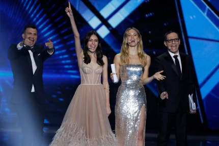Hosts Assi Azar, Lucy Ayoub, Bar Refaeli and Erez Tal live on stage during the 64th annual Eurovision Song Contest held at Tel Aviv Fairgrounds on May 17, 2019 in Tel Aviv, Israel.
