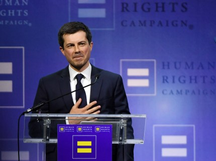 South Bend, Indiana Mayor Pete Buttigieg reacts to the crowd after delivering a keynote address at the Human Rights Campaign's (HRC) 14th annual Las Vegas Gala at Caesars Palace on May 11, 2019 in Las Vegas, Nevada.