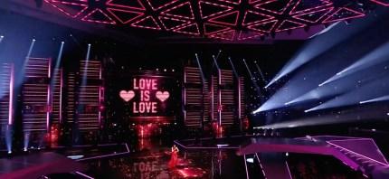 Former Eurovision winner Dana International shows pro-LGBT message during her performance.