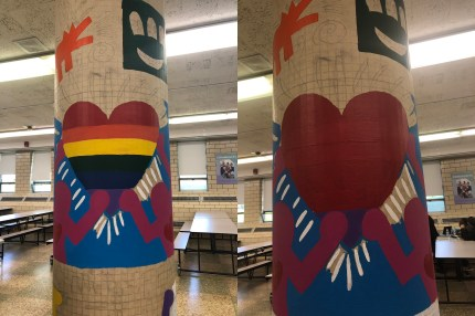 The mural before and after. (Garden State Equality)