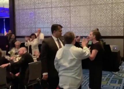 An anti-gay heckler confronts Pete Buttigieg at a Texas political event.