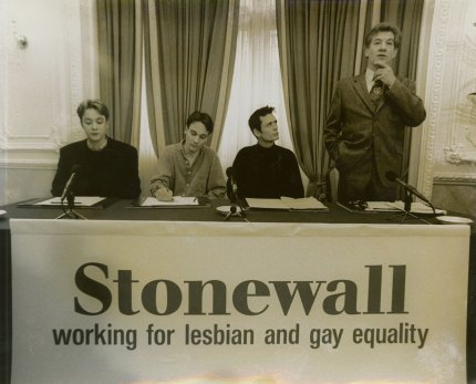 Sir Ian McKellen speaking at an early Stonewall press conference.