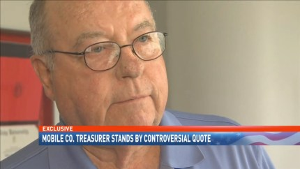 Phil Benson, the elected treasurer of Mobile County, Alabama, defended his comments in an interview with WPMI