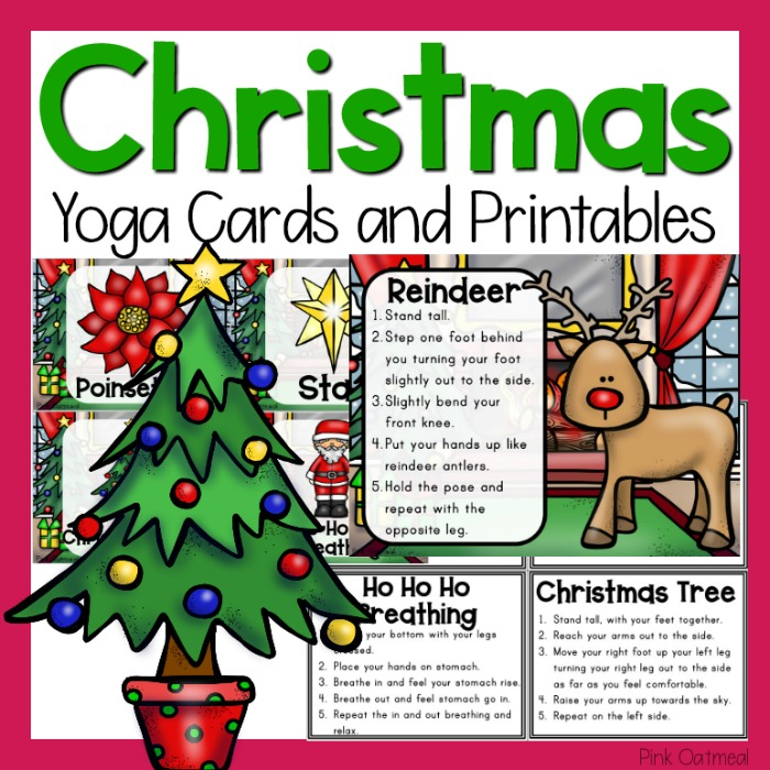 Kids Christmas Yoga Pose Ideas Pink Oatmeal