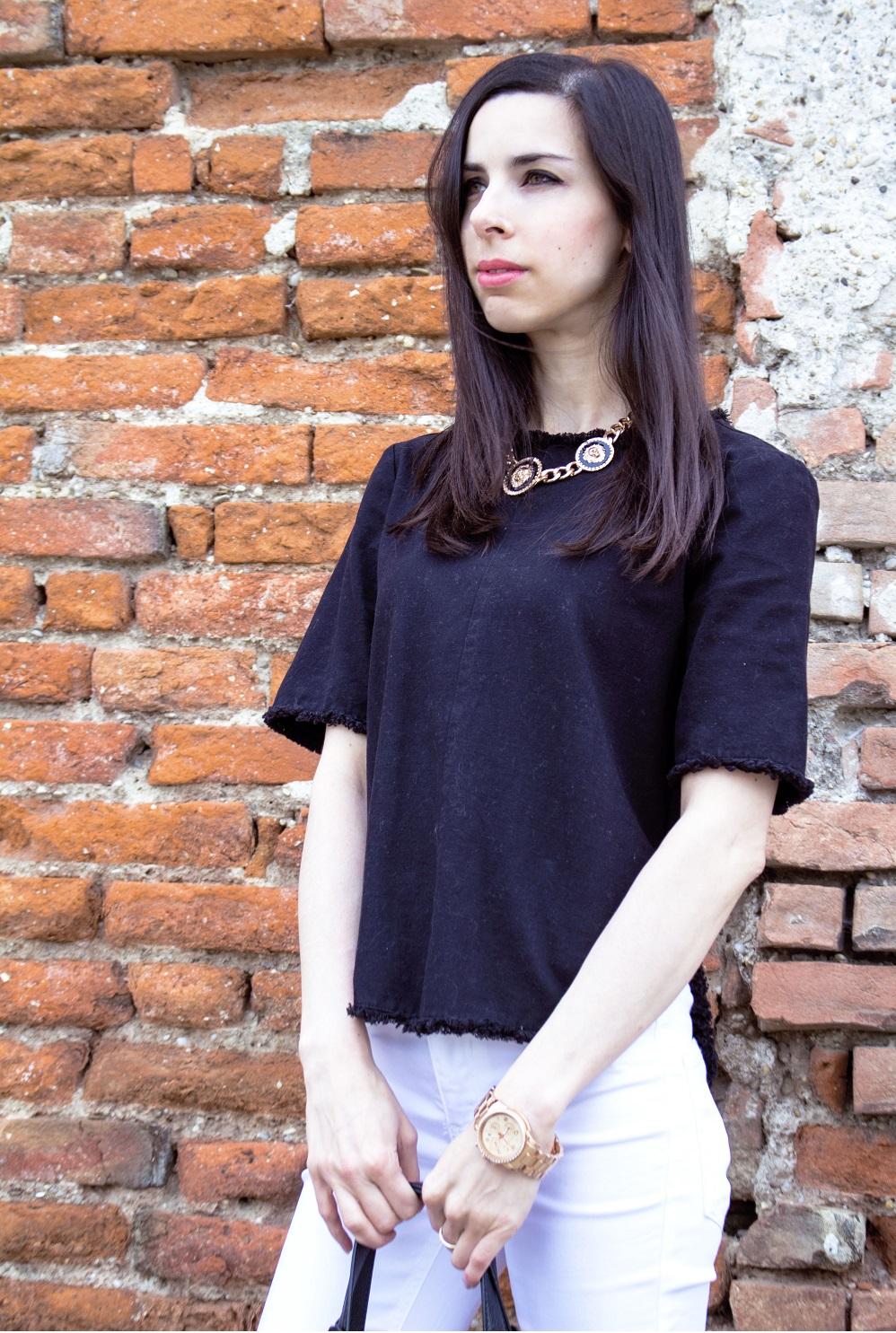 Black Zara shirt white jeans