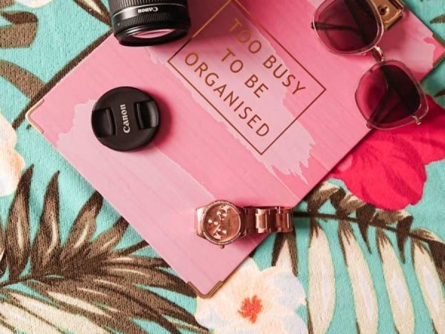 flatlay camera pink