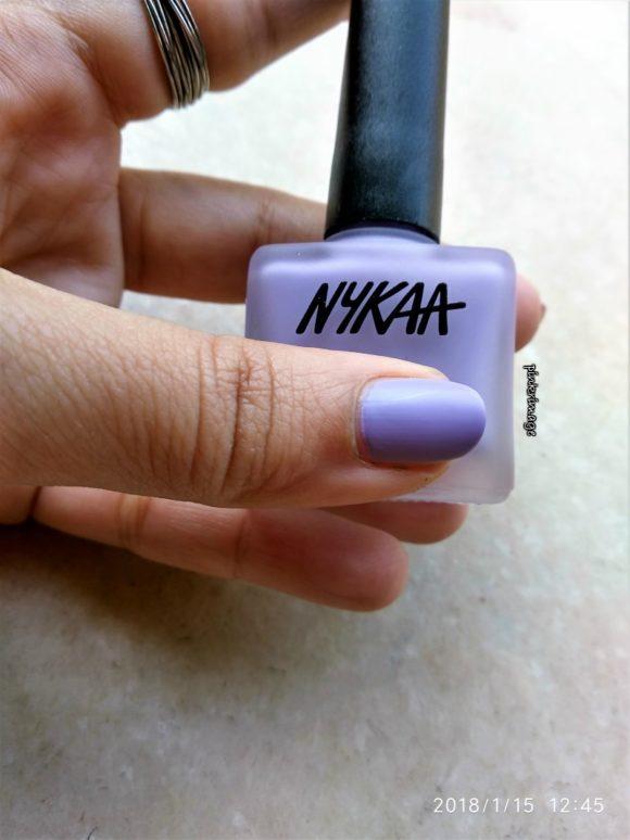 Nykaa matte nail polish in Lavender Panna Cotta
