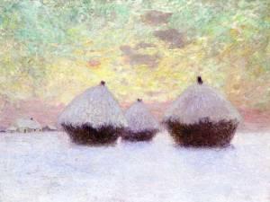 Winter scene of haystacks: painting