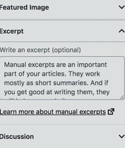 Manual excerpts in WordPress editor.