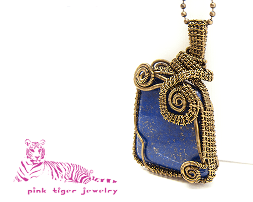 Lapis Lazuli Gemstone Pendant with Vintage Copper