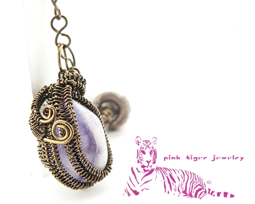 Amethyst Gemstone Pendant With Infinity Viking Knit Chain