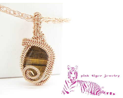 Tigers Eye Copper Wire Weave Pendant with Viking Knit Chain